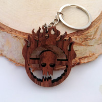 Wooden Immortan Joe Skull keychain, Mad Max Fury Road Keychain,Movies Keychain, Environmental Friendly Green materials