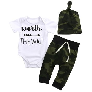 Newborn Clothes Baby Boy Short Sleeve Arrow Bodysuit Tops Camouflage Pant Hat 3PCS Outfits Baby Clothing Set