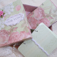 Wedding Vow Book Set - Green and Pink  with Roses- Shabby Chic- with Matching Keepsake Box – Personalized