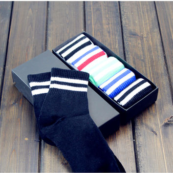 5PCS Cotton Winter Warm Cozy Comfortable Striped Socks