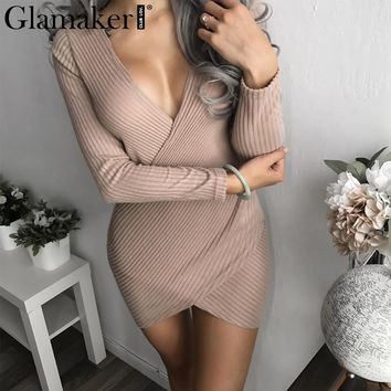 Glamaker Deep v neck knitted wrap dress Women sexy long sleeve winter dress vestidos Female elegant party club christmas dress