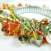Swarovski Crystal Autumn Mix Cha Cha Bracelet Stretch Earthtone