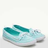 Striped Canvas Boat Shoes