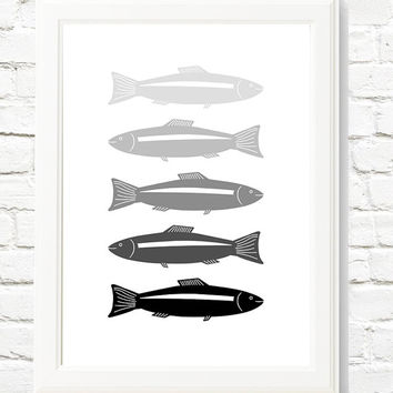 SAVE 50% Contemporary Print Scandinavian Modern Wall Decor Fish Print Fishes Poster Modern Poster Modern Wall Art Nordic Decor Large Poster