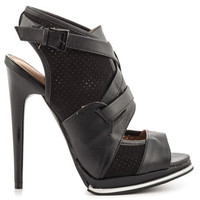 (anp) Strappy and mesh alina black pu heels