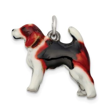 925 Sterling Silver Enameled Beagle Charm and Pendant