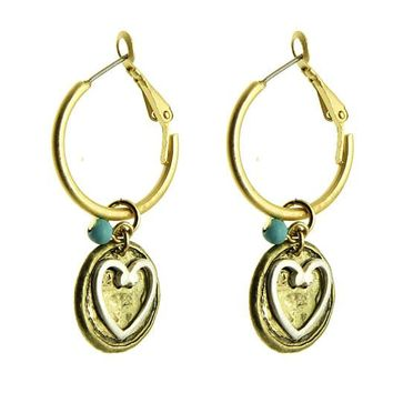 Turquoise Heart Lucite Bead Earring