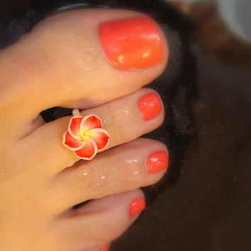 Toe Ring, Polymer Flower Ring, Red Flower Ring, Stretch Toe Ring, Bead Toe Ring