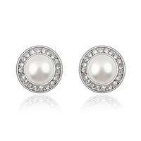 YCJ Women's Rhodium Plated Alloy Earrings: Round Pearl Theme