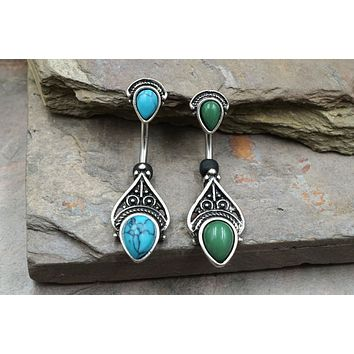 Vintage Turquoise or Adventurine Filigree Belly Button Ring