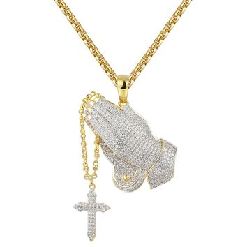 Iced Out Religious Praying Hands Rosary Pendant Tennis Set