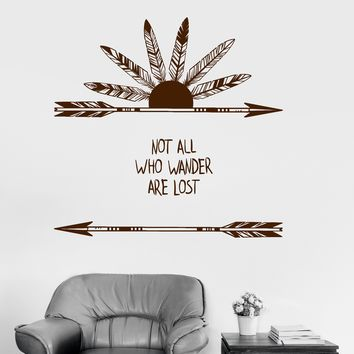 Vinyl Wall Decal Feathers Arrow Quote Ethnic Art Style Stickers Unique Gift (ig3927)