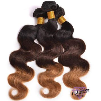 3 Hair Bundles of Brazilian Blonde Ombre Body Wave Extensions (1b/4/27)