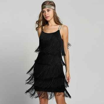 Vintage Vestido 1920s Flapper Girl Fancy Dress Great Gatsby Dress Costumes Slash Neck Tiered Fringe Swing Party Dress Headband