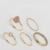 ASOS Pack of 5 Stone Etched Ring Pack at asos.com