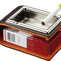 Visol Bonus Brown & Orange Leather Metal Cigarette Ashtray