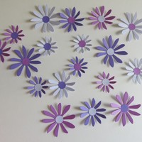 "Lilac, Purple, Violet Daisies Set, 18 3D Wall Decals, 2-3"" Daisy Paper Flowers, Princess Bedroom Decor, Spring Floral Wall Art"