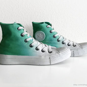 Fresh green ombre Converse, dip dye upcycled vintage sneakers, All Stars, Chucks, high tops, eu 36.5 (UK 4, US wmns 6, US mens 4)