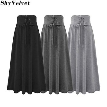 Lace Up Skirt Women Autumn Winter Faldas Knitted Tutu Skirts Womens Vintage High Waist Long Skirt Black Gray Dark Gray
