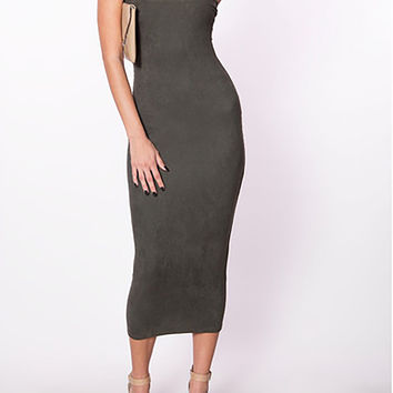 Per Suede Me Minimal Extended Midi Bodycon Dress in Micro Suede