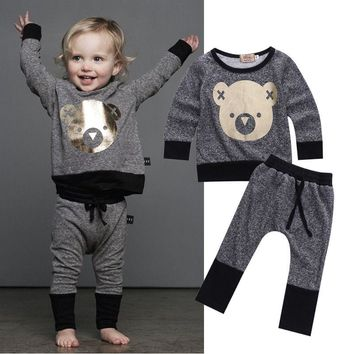 Retail Girls Boys Clothing Sets Top + Pants 2 Pcs Set Autumn Winter Kids Clothes Fashion Girls Clothes Knitted Children Clothing
