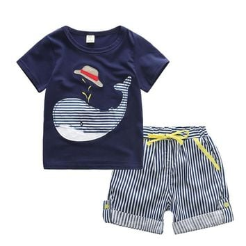 Cute Little Whale Print T Shirt +Striped Short Baby Boy Sets Children Clothes Casual Clothing Cotton Fashion Suits For Boy