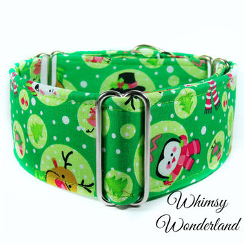"""Christmas Martingale Dog collar, 1.5"""" martingale, whippet collar, Collar Town, greyhound collar, 2 inch martingale, Green Christmas Collar"""