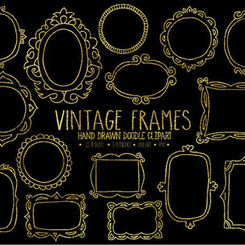 SALE. Gold Frames Clipart. Doodle Frames, Tags & Labels Clip Art. Digital Borders. Photo Overlays. Vintage, Retro Hand Drawn Frames Clip Art