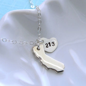 SALE-FREE SHIPPING- State of California Necklace with Area Code Heart, Sterling Silver, Los Angeles, Southern California, Northern Californi