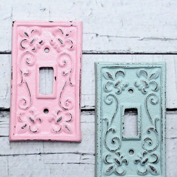 Custom colors- Cast Iron switch plates // light switch covers // switchplate // custom switchplates // cast iron light covers / pink // mint