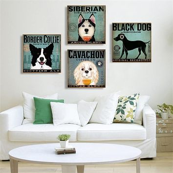 Clever Music Dog Cute Animals Pug Rock Bulldog Canvas Painting Living Room Decoration Hanging Wall Art Pictures Cuadros