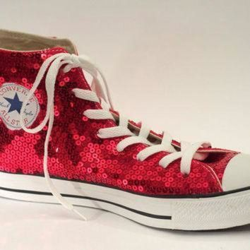 CREYON ruby red sequin converse all star hi top