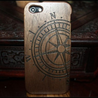 natural walnut wood iphone 4 case,wood iphone 4s case, walnut wood iphone 5 case,wooden iphone 5s case,laser engraved compass
