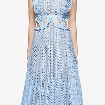 Blue Ruffle Sleeve Cut Out Lace Midi Dress