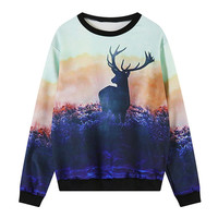 Elk Prairie Print Long Sleeve Sweater