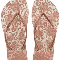 Havaianas Slim Animals in White/Golden Blush