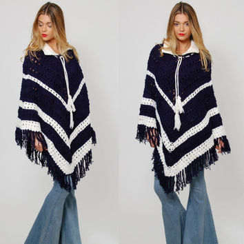 Vintage 70s KNIT Poncho Blue & White CHEVRON Stripe Poncho Hippie Sweater FRINGE Boho Cape