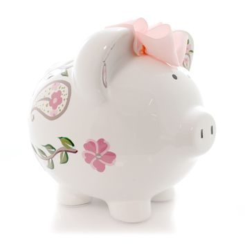 Bank I LOVE PAISLEY PIGGY BANK Ceramic Personalize Save 3613