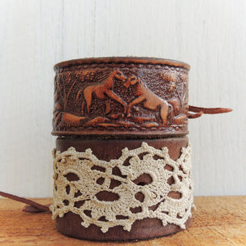 Tooled Leather Cuff / Horse Jewelry / Cowgirl Cuff / Western Cuff / Leather Jewelry / Rodeo / Country / Horse Bracelet / Genuine Cowhide