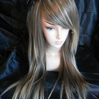 ON SALE Dirty Blonde and Platinum Blonde / Long Straight Layered Wig