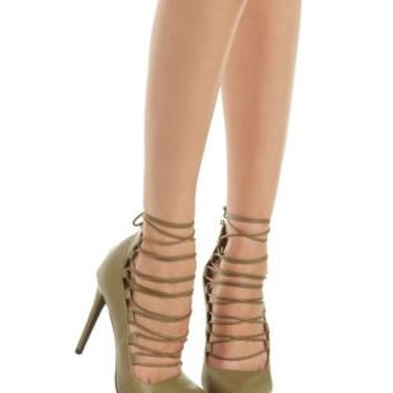Olive Pointed Toe Lace-Up Pumps by Charlotte Russe