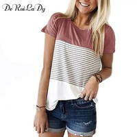 DeRuiLaDy Women 2018 New Summer Fashion T-shirt O-Neck Short Sleeve Striped T shirts Female Casual Tops Tees