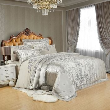Luxury Jacquard Embroidery Bedding Set 4/6pcs Queen King Size Bed set  Imitated Silk Cotton Duvet Cover Bed Sheet Linen