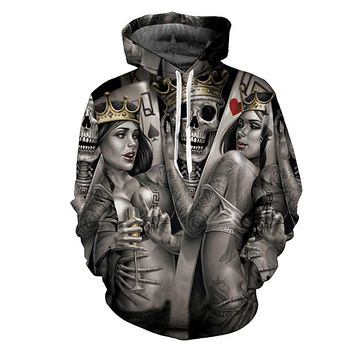 Fashion Skull Poker 3D Hoodies Men Women Hoodie Casual Brand Sweatshirts Drop Ship Male Jackets Novelty Steetwear ZOOTOP BEAR