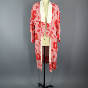 Vintage Kimono / Cotton Kimono Robe / Wedding Kimono / Dressing Gown / Downton Abbey / Art Deco / Japanese / Thread Novelty Print / Juban
