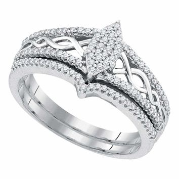 10kt White Gold Women's Round Diamond Oval Cluster Bridal Wedding Engagement Ring Band Set 1/3 Cttw - FREE Shipping (US/CAN)