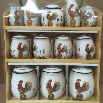 "Chidpc-21, matching kitchen set ceramic jars with roosters, wood shelf holder, 13""x16"""