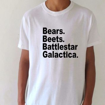 Bears Beets Battlestar Galactica T-Shirts - Men's Crew Neck Novelty Top Tee
