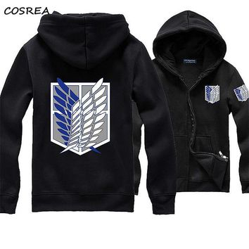 Cool Attack on Titan Anime  Unisex Cosplay Costume Green/Black/Red/Grey/Blue Hoodie Scouting Legion Hooded Jacket for Adult Men Women AT_90_11