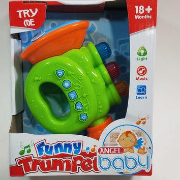My First Funny Trumpet 5 Buttons With 4 Musical Style Sounds & Lights Plastic Toddler/Baby Toy